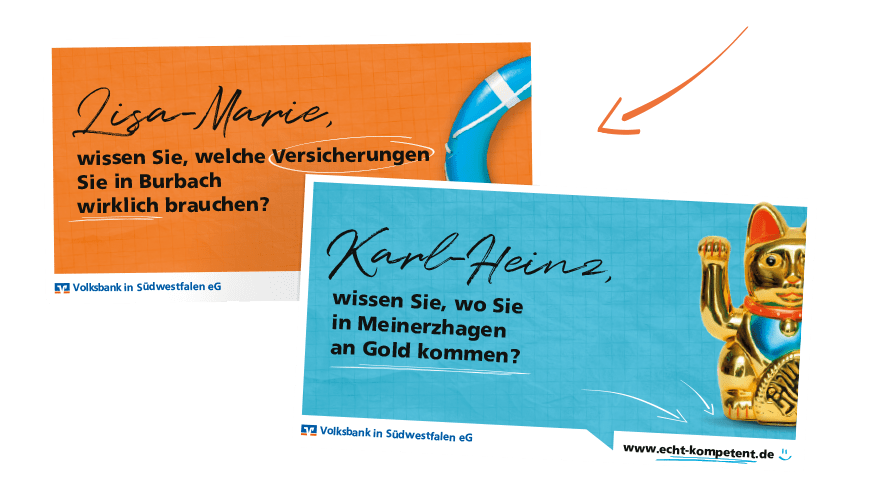 Beratungscenter bewerben: Kundendialogcenter Volksbank in Südwestfalen: Mailings